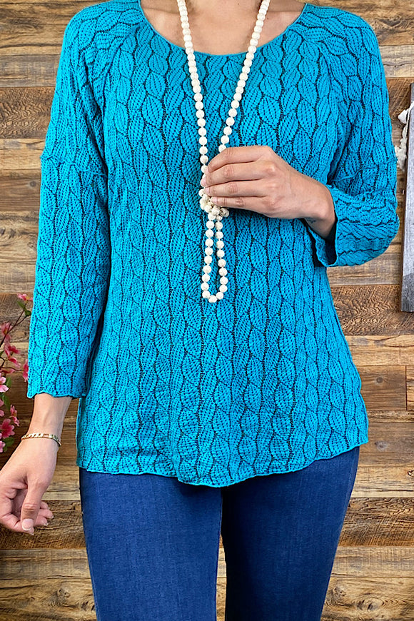 PO163S-Teal embroidery  3/4 sleeve blouse