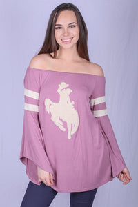 YT1051 Cowgirl printed off the shoulder blouse