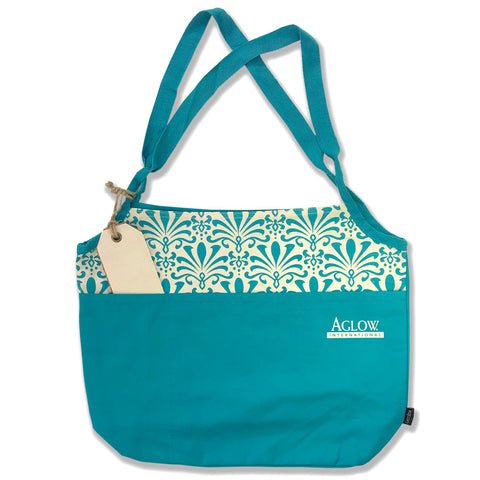 Baltic Blue Damask Tote Bag
