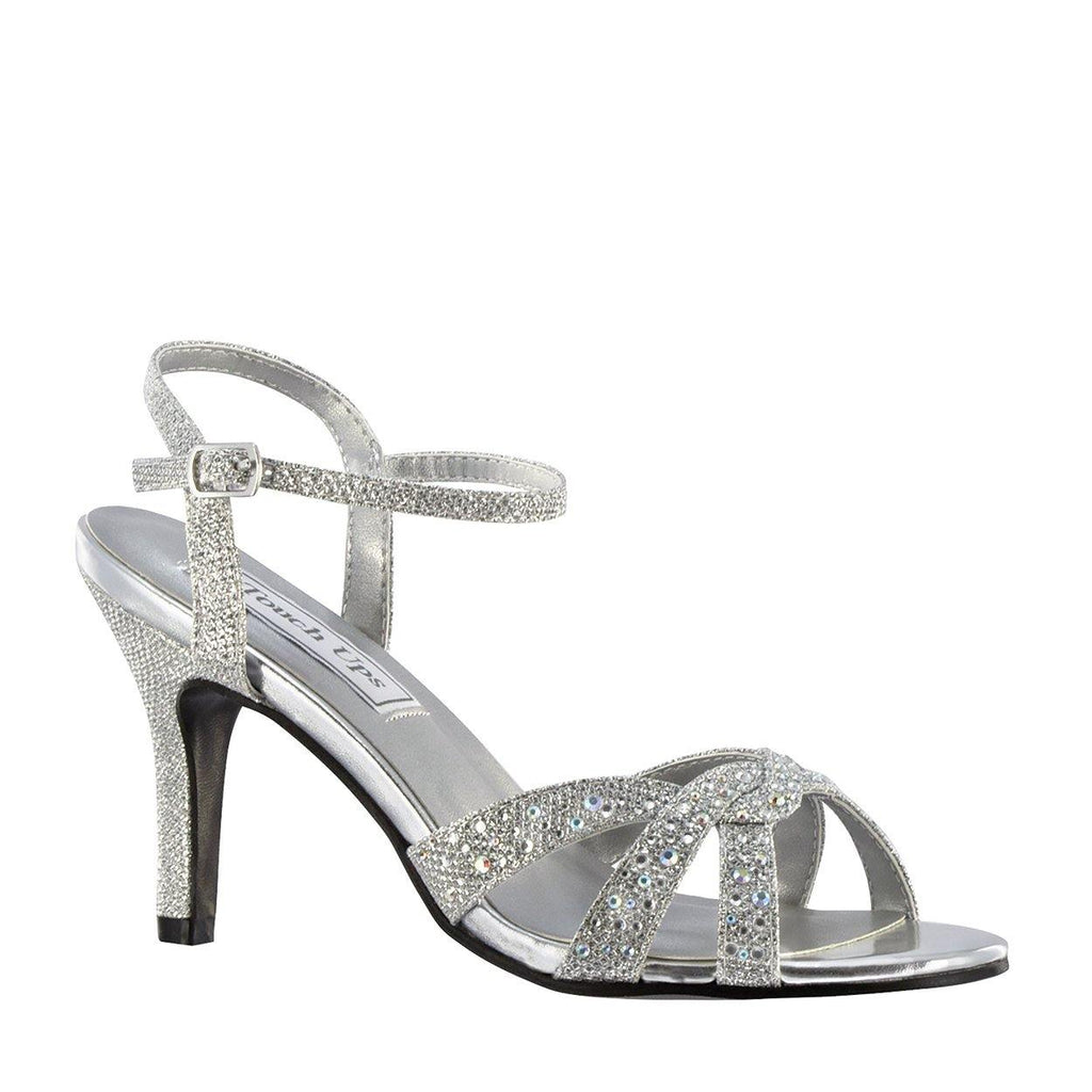silver glitter wedding sandal