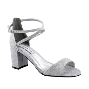 silver low block heels for bridesmaid