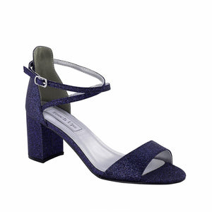 Navy glitter block wedding shoes