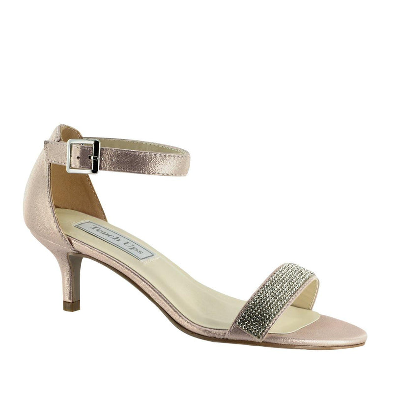 champagne low heel shoe with stones on strap
