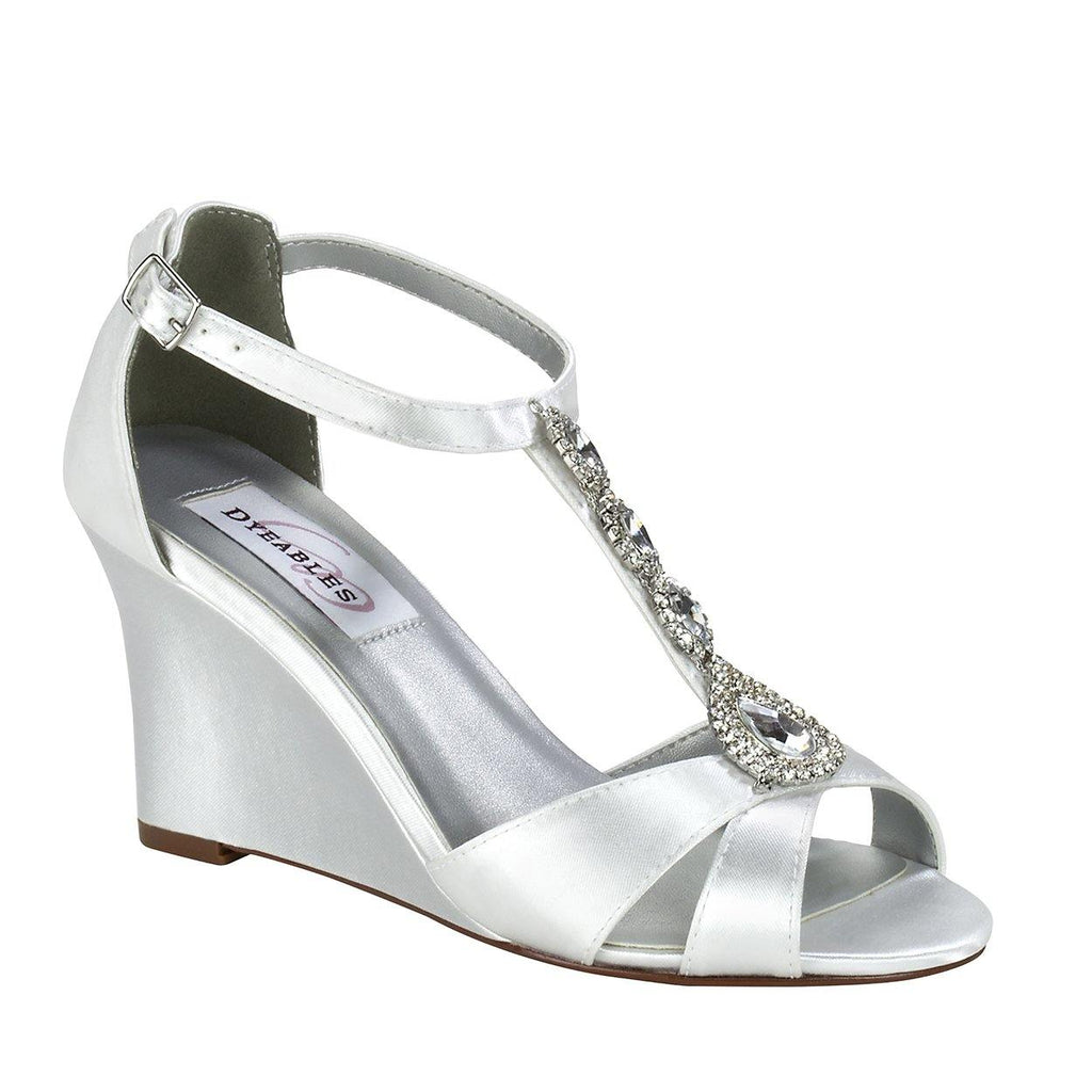 strappy sandal with wedge heel dyeable satin