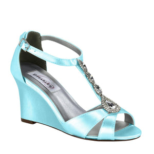Wedge Wedding Shoes dyed blue wedge shoe with sparkles and ankle strap