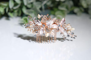 Rose gold pearl bridal hairpiece