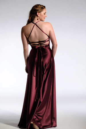 burgundy wrap n'strap formal dress back straps