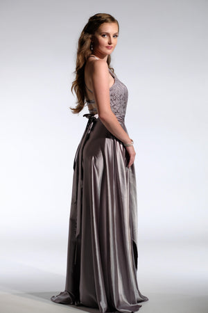 halter neck wrap dress Silver formal gown