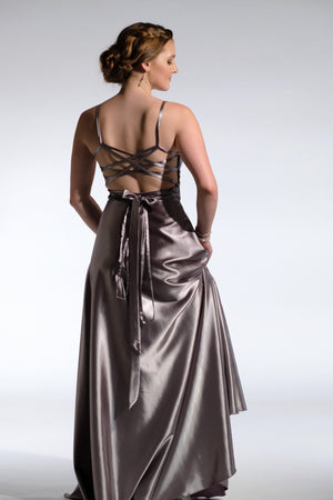 halter neck wrap dress silver wrap n'strap back