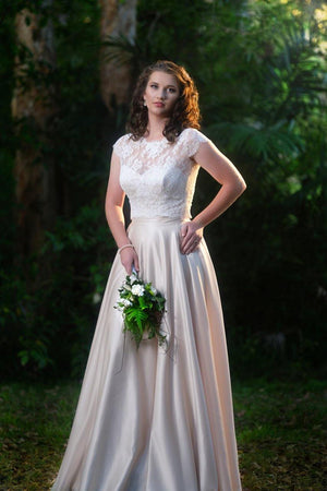 champagne satin french lace bridal gown