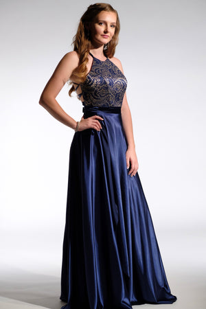 Navy and gold Prom dress