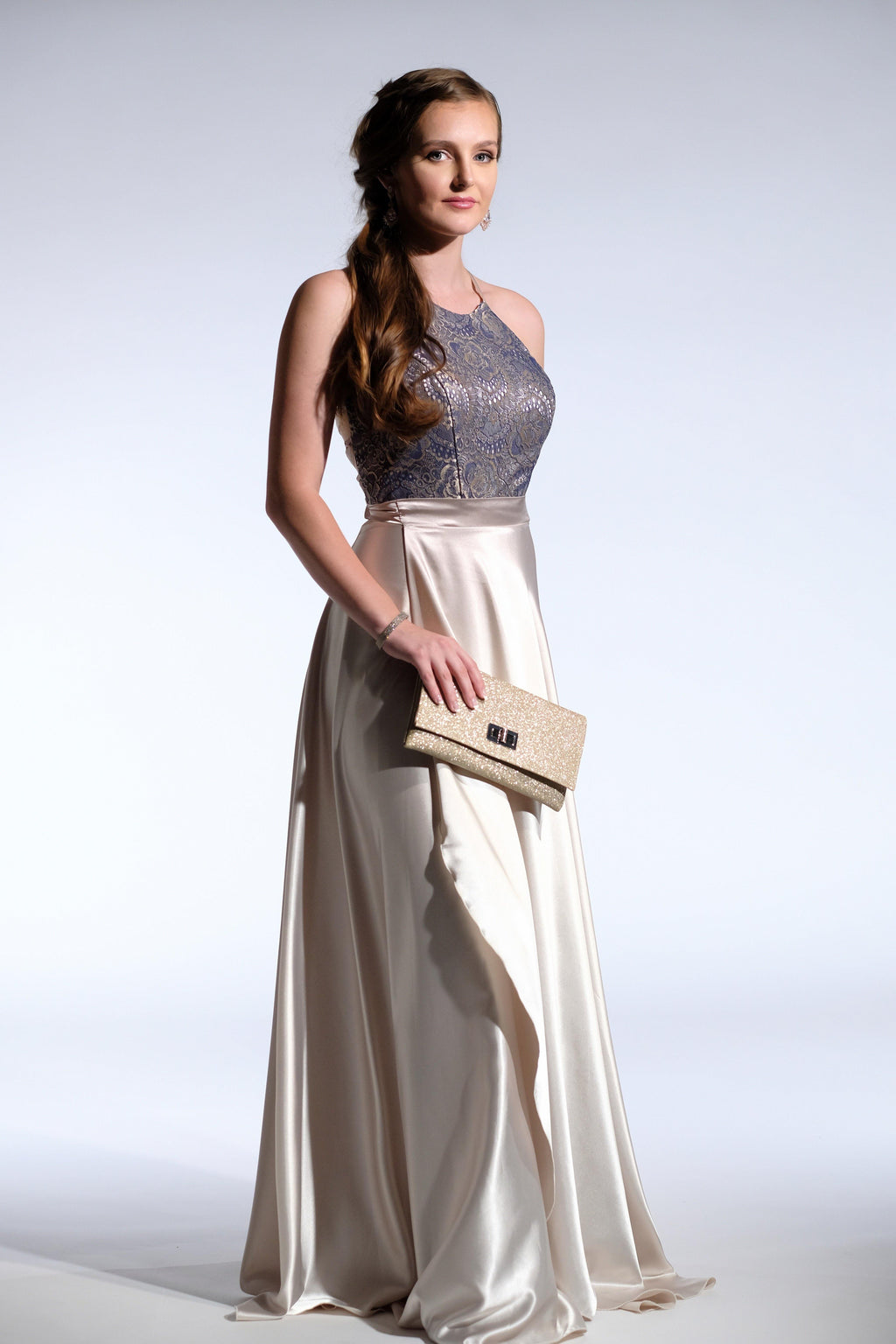 gold and navy formal gown
