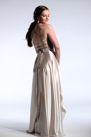 navy and champagne satin Prom dress