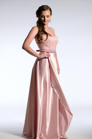 pink bridesmaid dress with satin skirt