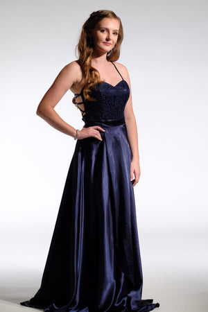 navy bridesmaid dress satin skirt