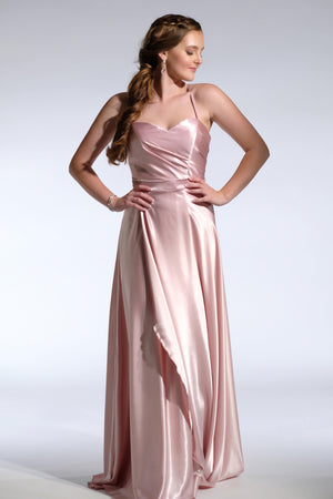 pink pleated formal dress