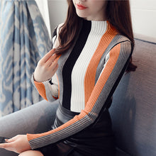 Load image into Gallery viewer, Turtleneck Long Sleeve Striped Pullower
