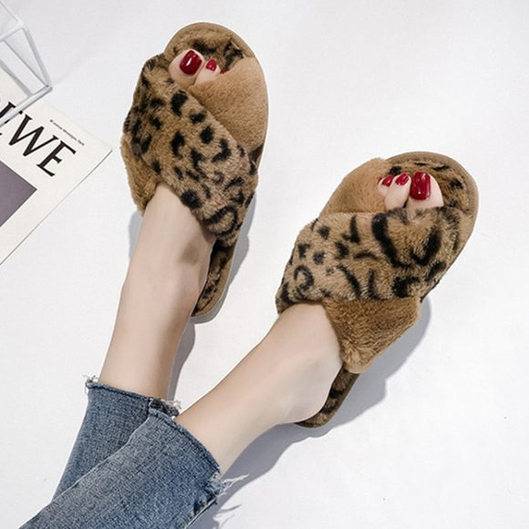 COOTELILI Winter Women Home Slippers with Faux Fur Fashion Warm Shoes Woman  Slip on Flats Female 3d787b0e7334