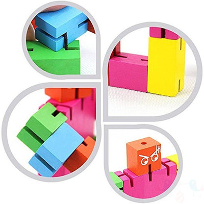 Brain Teaser Wooden Robot Transformer Toy Multi-Color Tetris Twister Cubebot