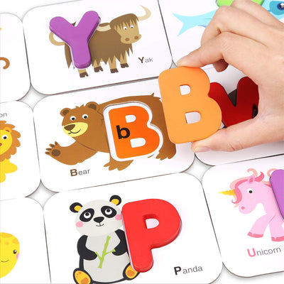 Animal Alphabet Number Wooden Jigsaw Puzzle Flash Cards