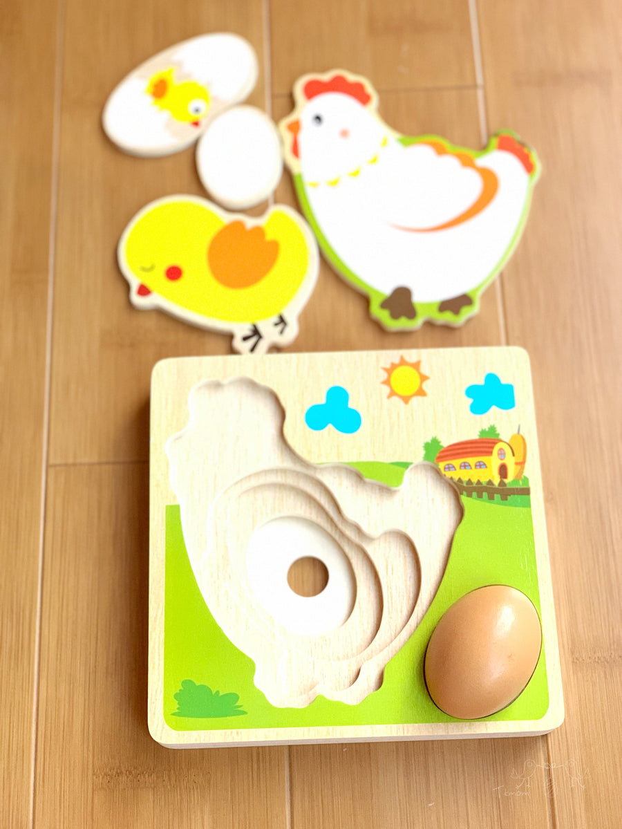 Wooden Layered Puzzle Chick Growth
