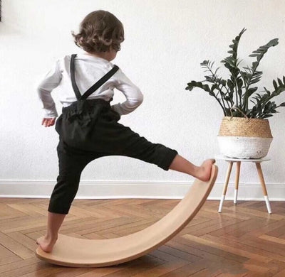 TKmom Wooden Balance Board, Wobble Board, Waldorf Toys, Kid Yoga Board, Curvy Board , Wooden Rocker Board Kid Size