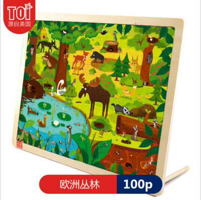 Forest Animal 100Pcs Educational Wooden Toy Jigsaw Puzzle for Kids