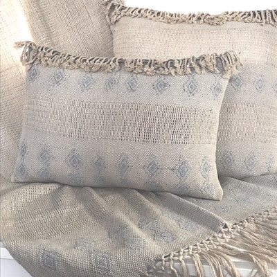Wayil by Algodones Mayas Large Square Pillow - Mixed Green with Light Blue Motif