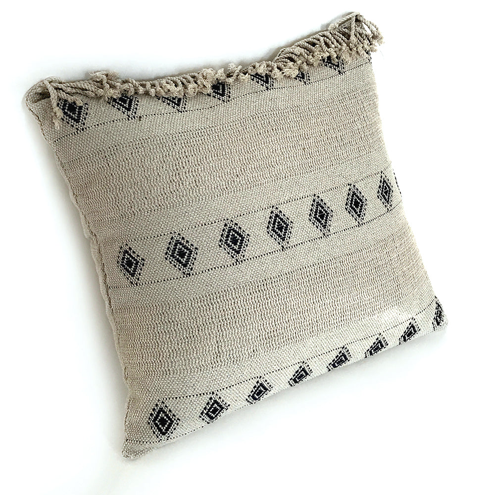 Wayil by Algodones Mayas Large Square Pillow - Mixed Green with Navy Motif