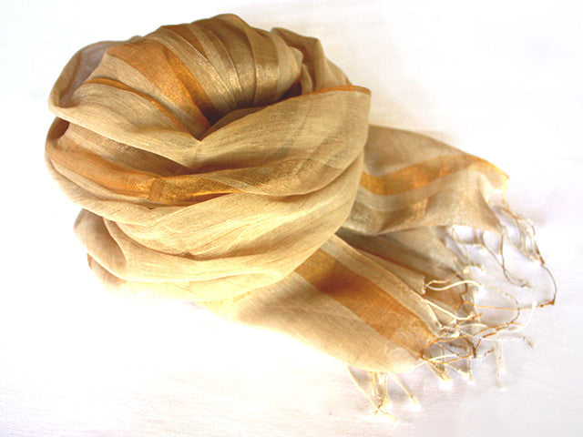 Amba Handwoven Shawl in Biscuit - AM-MES02