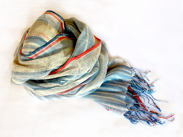 Amba Handwoven Shawl in Rainbow Blue Stripes - AM-MES03
