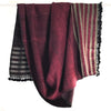 Avani Wild Silk & Wool Shawl - Maroon with Gold Stripes