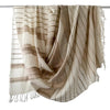 Avani Wild Silk & Wool Large Shawl in Winter White with Gold Stripes