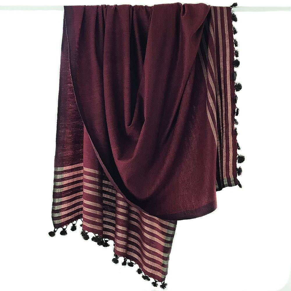 Avani Wild Silk Shawl in Maroon with Gold Stripes