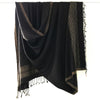 Avani Wild Silk Large Shawl in Black with Gold Stripes