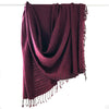 Avani Wild Silk Large Shawl in Maroon with Black Pin Stripes