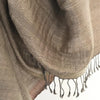 Avani Wild Silk Shawl in Frosted Slate Grey with Copper Border
