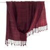 Avani Wild Silk & Wool Shawl in Maroon Red