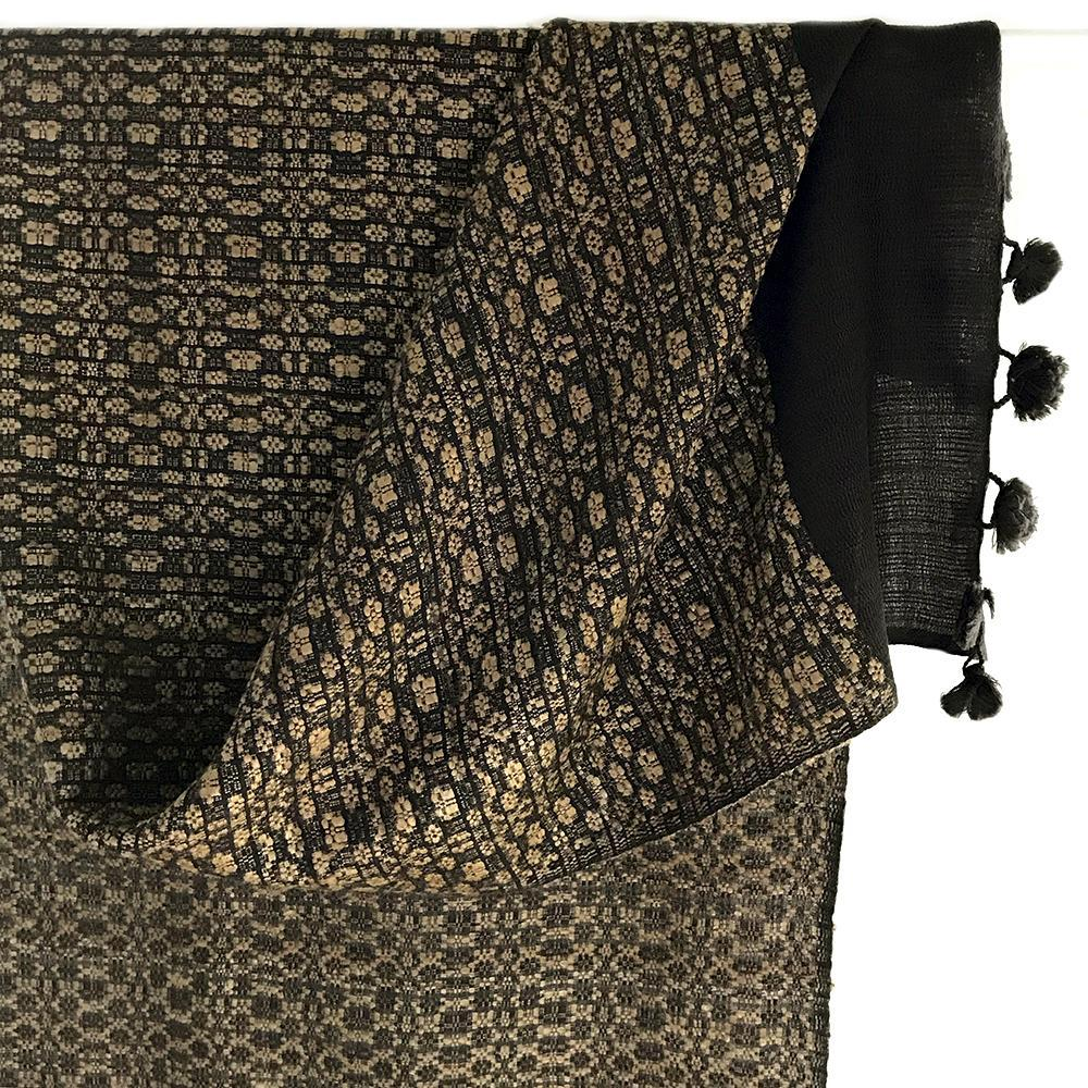 Avani Silk & Wool Shawl in Black & Gold Almora Pattern