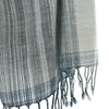 Avani Wild Silk & Wool Shawl in Blue & Pale Grey