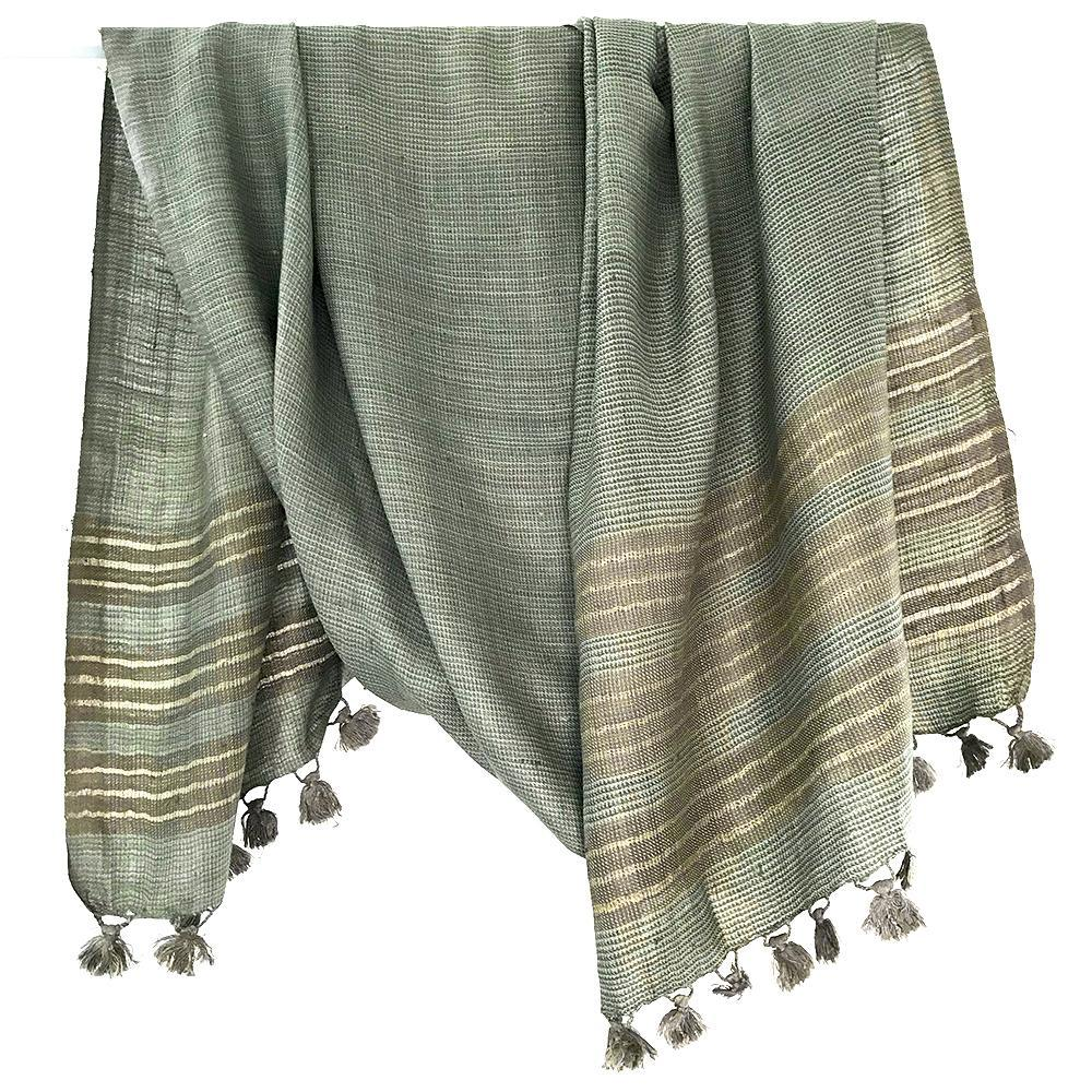 Avani Wild Silk Shawl in Slate Blue & Grey