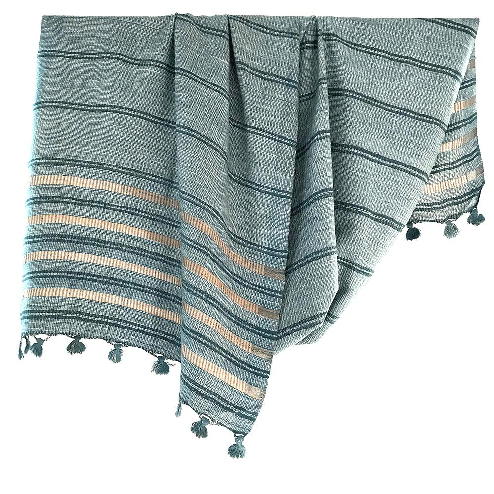 Avani Wild Silk Shawl in Slate Blue & Gold Stripes from Sprout Enterprise®