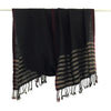 Avani Merino Wool Shawl in Rich Black with Gold Stripes