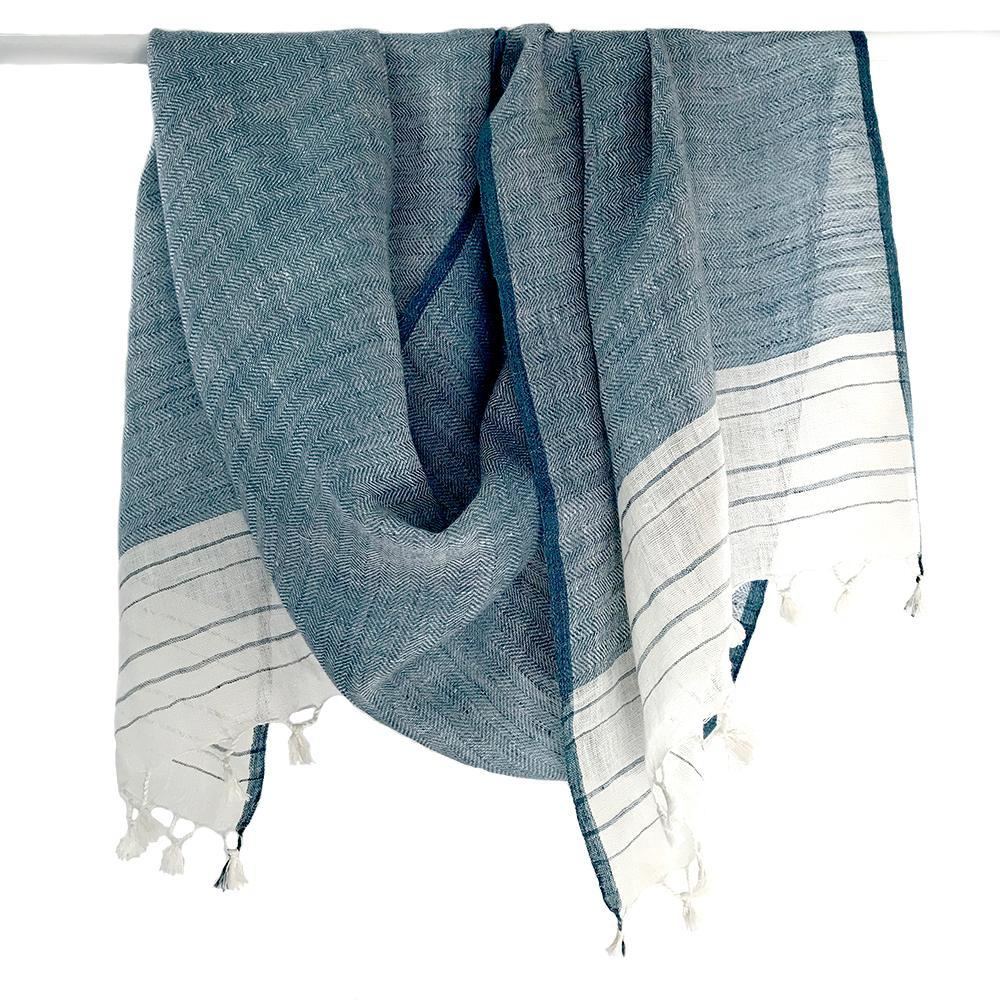 Avani Linen Shawl in Blue & White