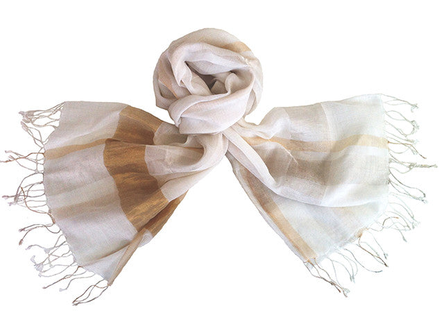 Amba Handwoven Shawl in Cream - MES01