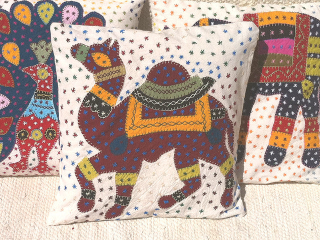 Barmer Applique Pillow Cover with Rajasthani Camel Applique