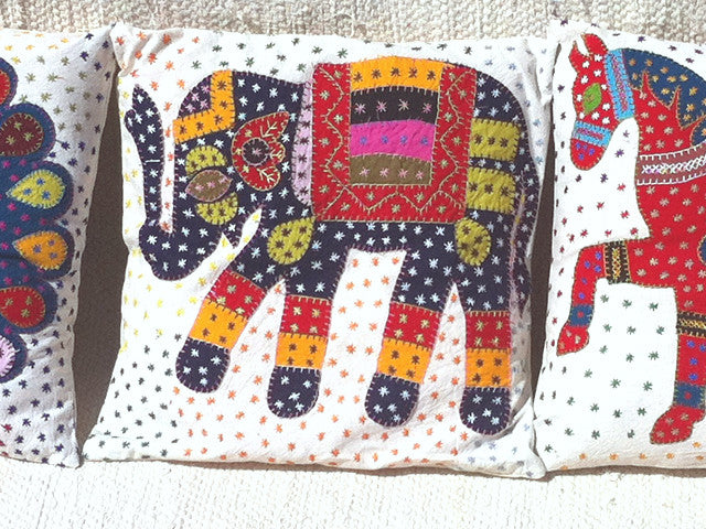 Barmer Appliqué Pillow Cover - Elephant from Sprout Enterprise®