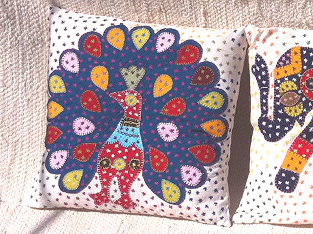 Barmer Applique Pillow Cover with Peacock Applique