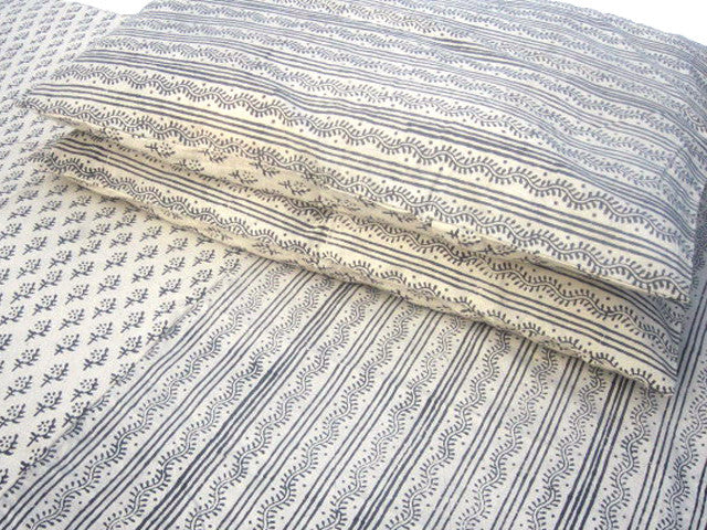 Tilonia® King Duvet Set - Centipede Stripe & Sprig in Grey