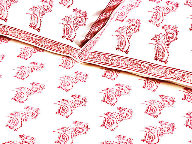 Tilonia® Twin Duvet Set - Fancy Paisley in Cranberry Red